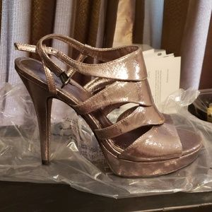 526cb81ac Adrianna Papell Shoes | Nude Lancelot Metallic Platforms | Poshmark